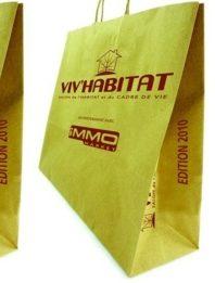 sac papier kraft poignées torsadées jaune