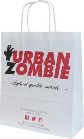sac en papier kraft personnalisé pour la boutique parisienne Urban Zombie