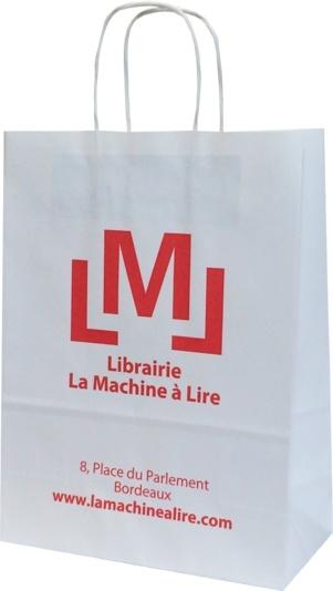 sac papier kraft publicitaire librairie bordelaise Machine à lire