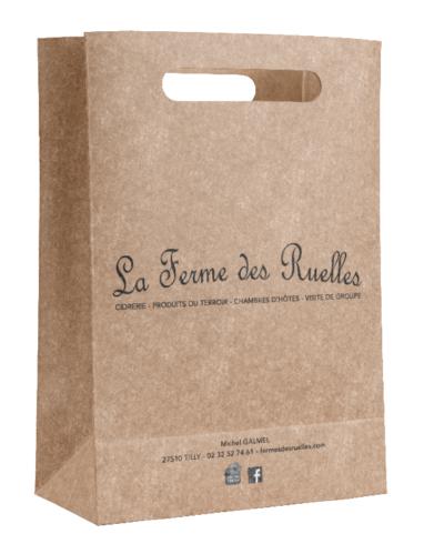 sac en papier kraft poignées découpées renforcées personnalisé pour La ferme des Ruelles