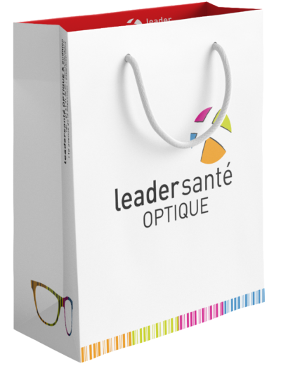 sac papier peliculé publicitaire opticien Leadersanté