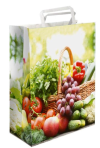 Sac papier kraft poignées plates légumes