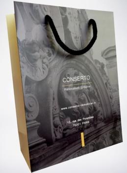 sac papier pelliculé avec soufflets pour Conserto
