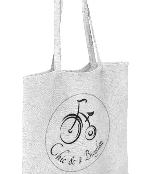 Tote bag coton naturel chic et à bicyclette