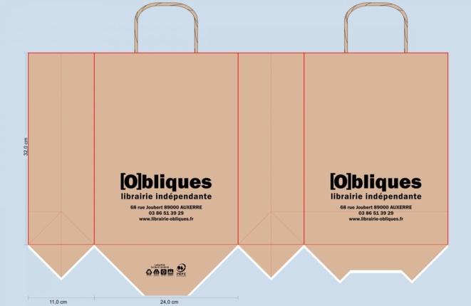 BAT sac papier kraft librairie OBLIQUES