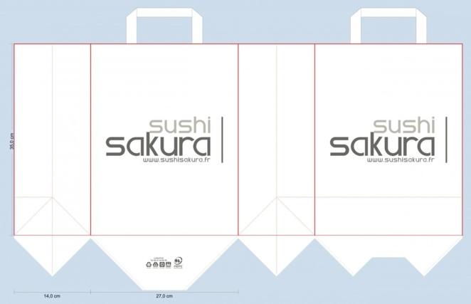 BAT sac papier panier repas traiteur sushi sakura