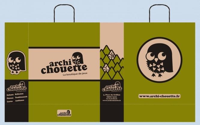 BAT sac publicitaire papier kraft ARCHI CHOUETTE