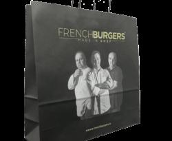 sac papier personnalisé french burger avec des poignées torsadées