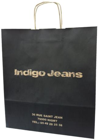 sac kraft poignées torsadées indigo jeans