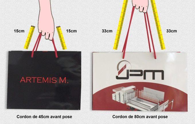 longueur des poignées cordelettes pour les sacs papier luxe personnalisés