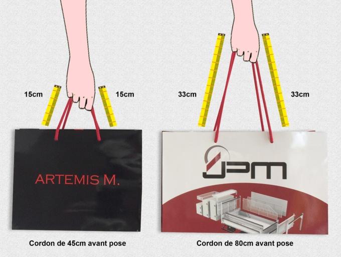 Longueur des poignées coton pour votre sac publicitaire en papier