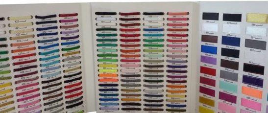 Palette de choix de cordons ou rubans pour les sacs papier manuel personnalisés