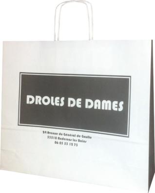 sac en papier, sac publicitaire Droles de dames
