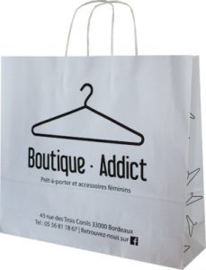 Sac kraft poignées torsadées blanc Boutique Addict
