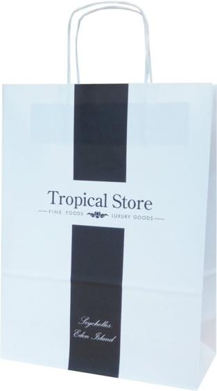 sac papier poignées torsadée tropical store