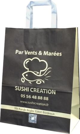 sac kraft poignées plats sushi création