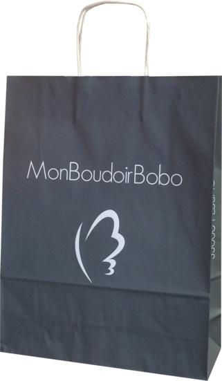 sac papier kraft publicitaire réalisé pour Mon Boudoir Bobo pour son showroom situé à Pessac