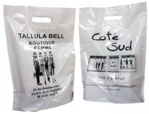 sac bioplastique poignées découpées personnalisé