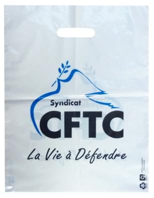 sac plastique personnalisé poignées découpées CFTC