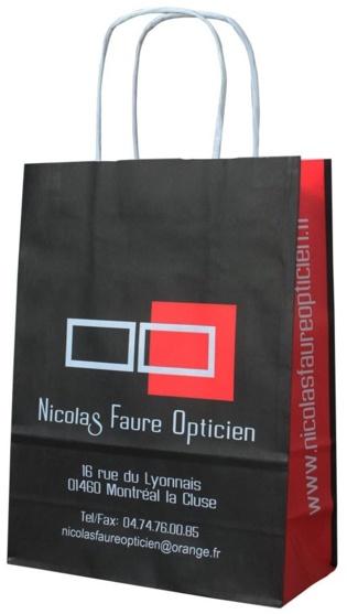 Sac Publicitaire en papier poignées torsadées Nicolas Faure Opticien