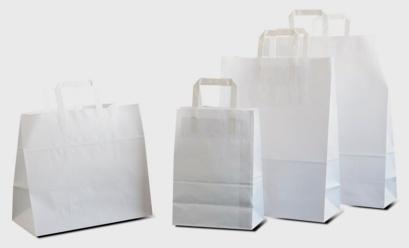 Sacs papier à poignées plates blancs