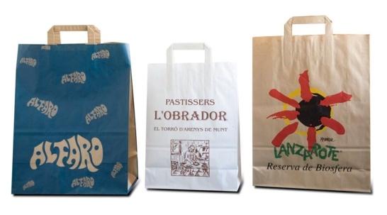 sacs papier publicitaires poignées plates