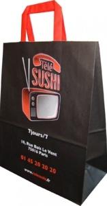 Sac papier poignées plates traiteur télé sushi