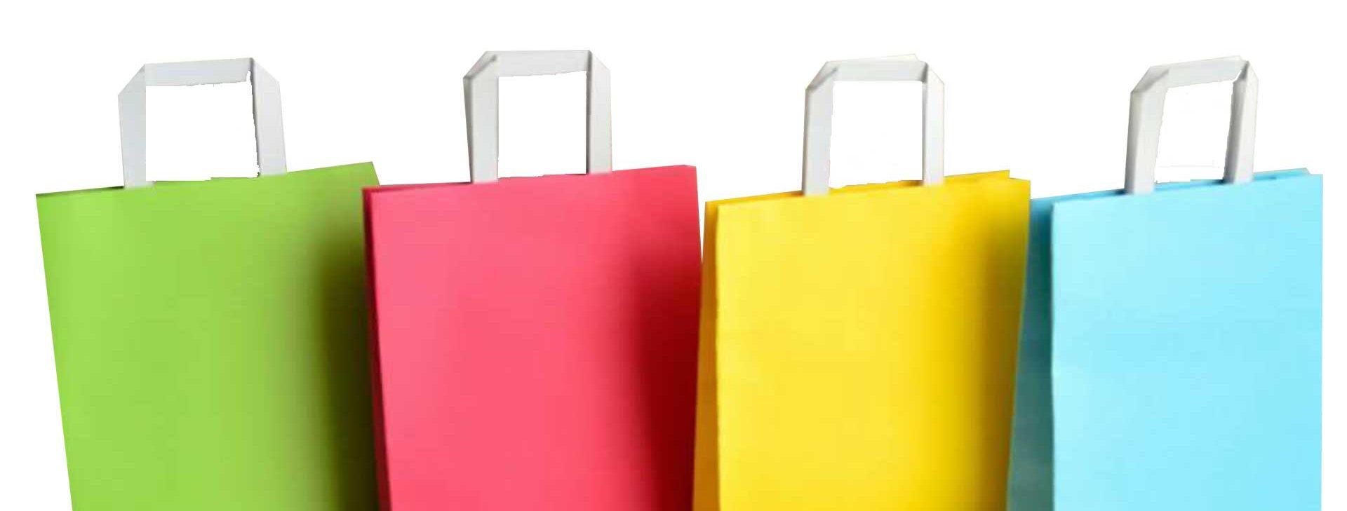 Sacs couleur en papier kraft poignées plates