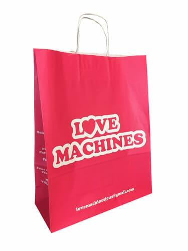 sac papier kraft publicitaire poignées torsadées Love machines