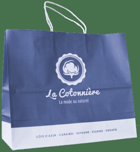 sac papier kraft personnalisépoignées torsadées La Cotonnière