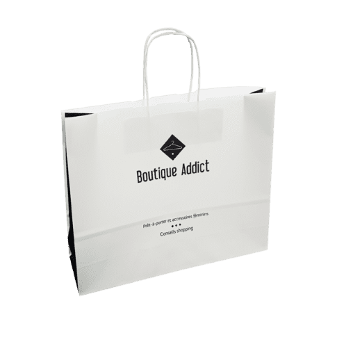 Sac papier kraft blanc boutique addict