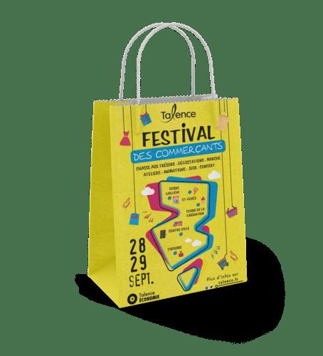 sac papier kraft publicitaire poignées torsadées Festival des commerçants Talence