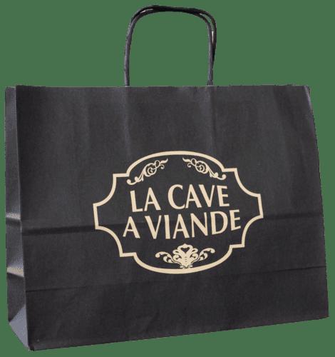 sac papier kraft personnalisé poignées torsadées la Cave à Viande