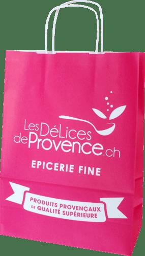 sac papier kraft personnalisable poignées torsadées Les délices de Provence