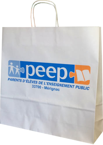 sac papier kraft personnalisé poignées torsadées Peep