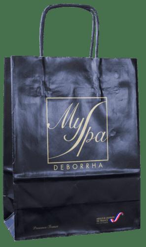 sac papier kraft personnalisé poignées torsadées MySpa